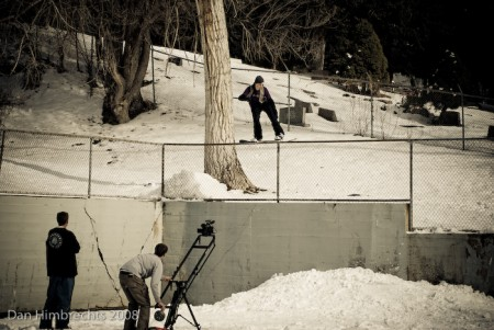 "50-50 frontside 180 drop, SLC, Utah, 2008. Filming for ""Two Weeks In"""