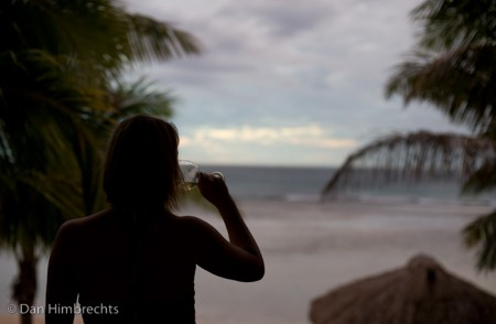 Clare enjoying the view from our room, Intercontinental, Fiji