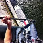 An iPhone picture of me up the mast of Wild Oats XI, prior to photographing the Yacht's skipper Mark Richards.