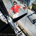 Wild Oats XI skipper Mark Richards is pictured atop the 48 metre mast of the super-maxi yacht at Woolwich Dock, Sydney, as the crew makes final preparations ahead of the Sydney to Hobart Yacht Race.